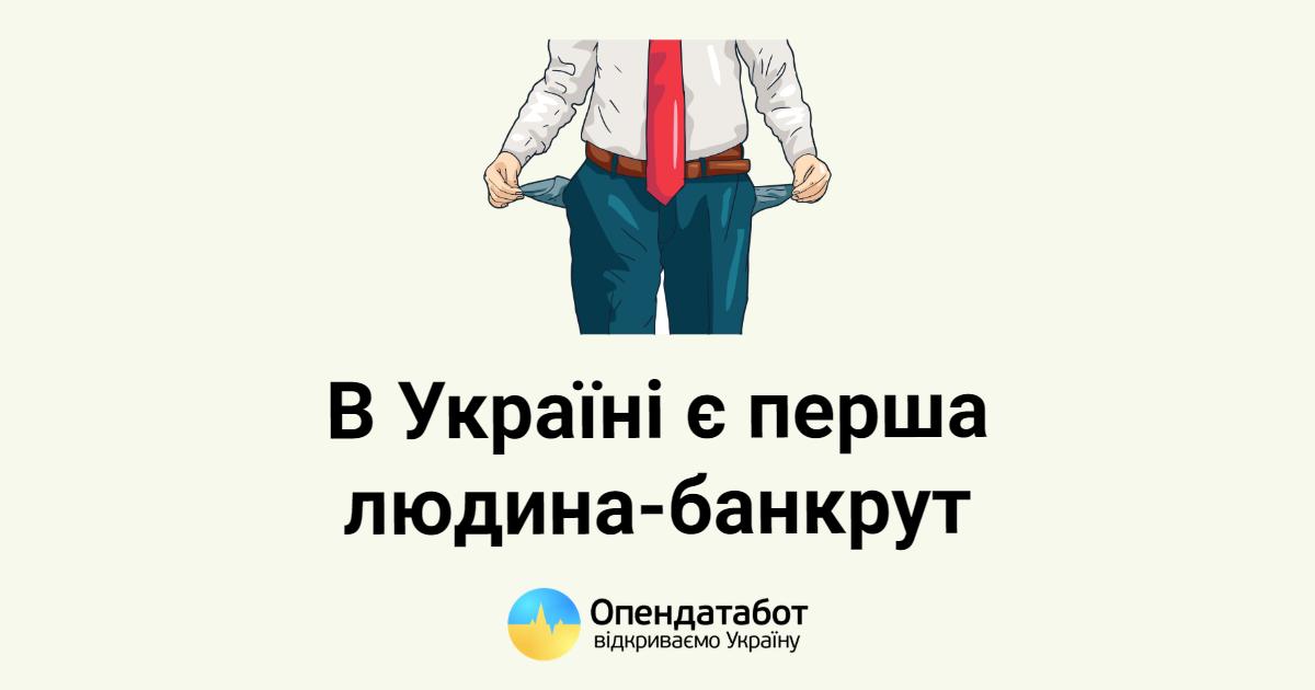 Вперше в Україні офіційно з'явилася фізична особа-банкрут
