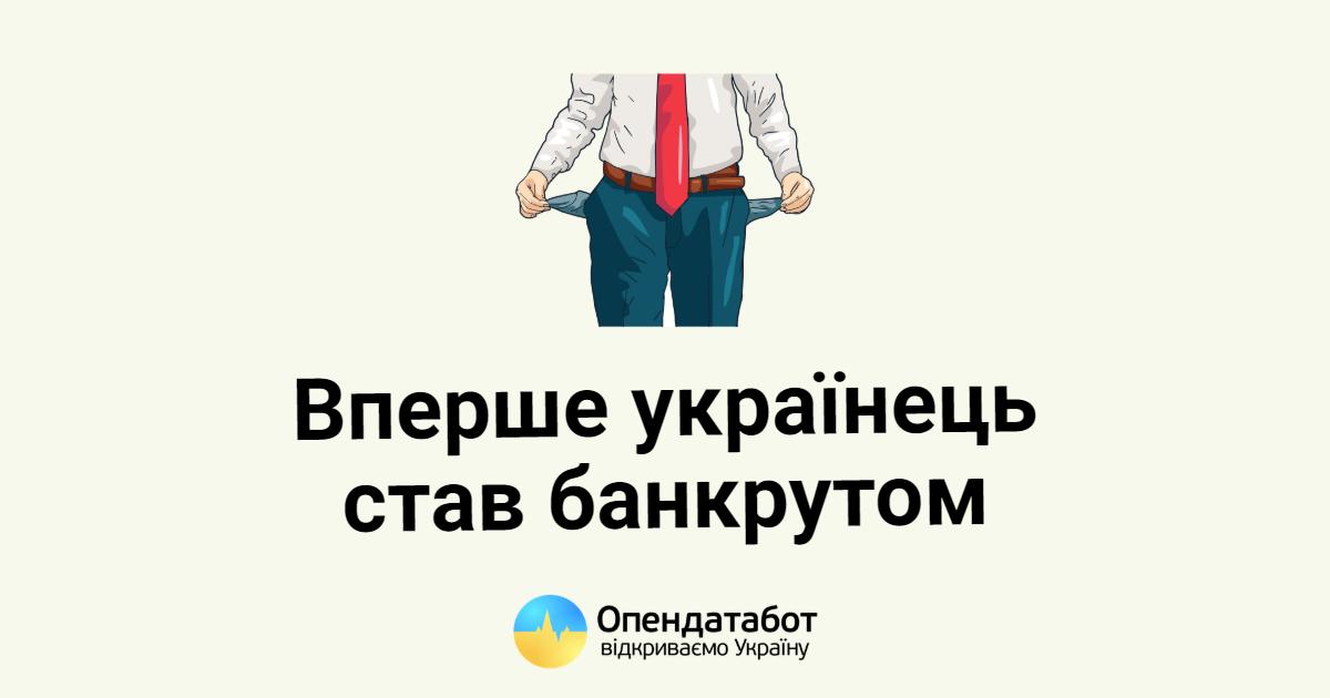 Вперше українець подав на банкрутство